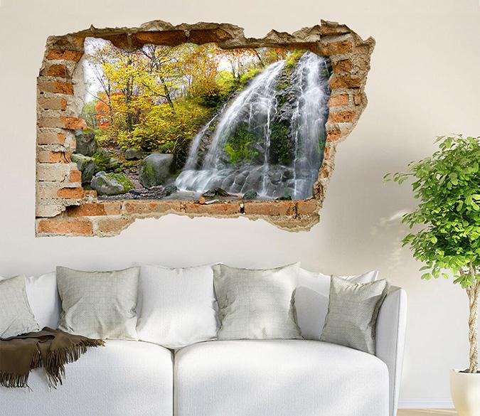 3D Mountain Waterfall 129 Broken Wall Murals