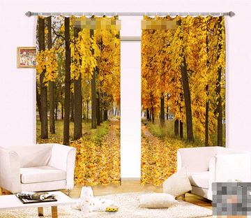 3D Pretty Orange Trees 1062 Curtains Drapes