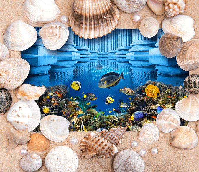 3D Ocean Mirror Floor Mural Wallpaper AJ Wallpaper 2