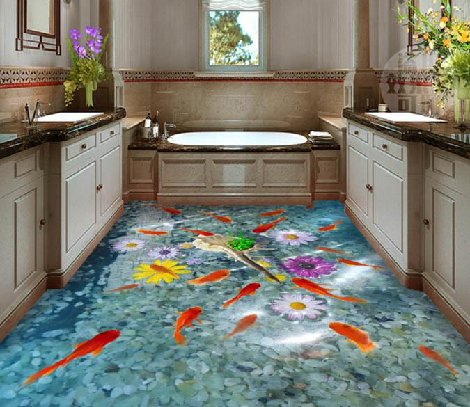 3D Beautiful Fish Pond Floor Mural Wallpaper AJ Wallpaper 2