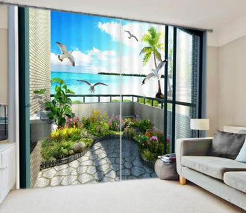 3D Balcony Sea Scenery 915 Curtains Drapes Wallpaper AJ Wallpaper