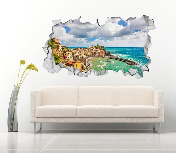 3D Pretty Seaside Town 380 Broken Wall Murals Wallpaper AJ Wallpaper