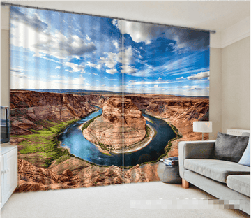 3D Bare Mountains River 1217 Curtains Drapes