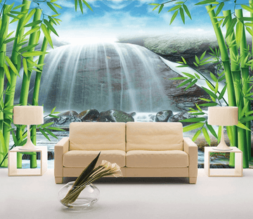 Bamboos And Waterfall Wallpaper AJ Wallpaper