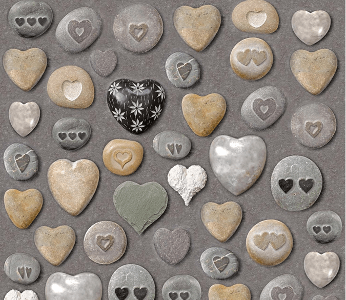 3D Heart Shape Stones Floor Mural Wallpaper AJ Wallpaper 2