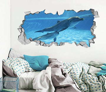 3D Sea Swimming Dolphins 046 Broken Wall Murals Wallpaper AJ Wallpaper