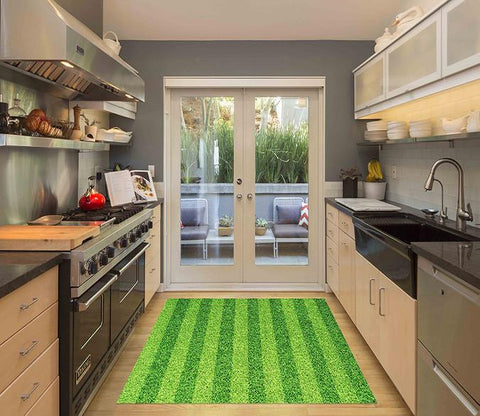 3D Grass Stripes Kitchen Mat Floor Mural