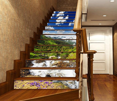 3D Mountain River Scenery 1191 Stair Risers