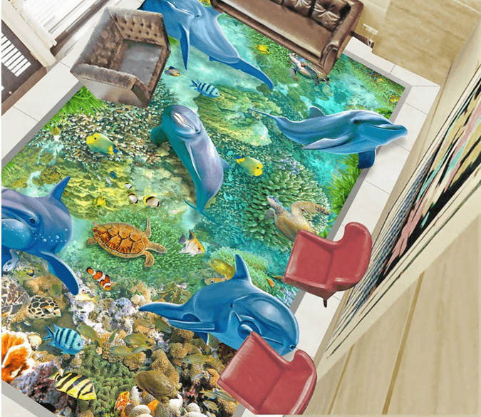 3D Underwater World Floor Mural Wallpaper AJ Wallpaper 2