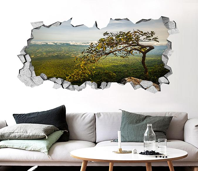 3D Vast Mountains Tree Scenery 012 Broken Wall Murals Wallpaper AJ Wallpaper