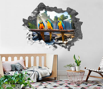 3D Waterfall Parrots 186 Broken Wall Murals