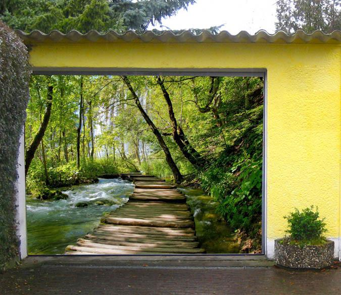 3D Forest River Wood Bridge 332 Garage Door Mural Wallpaper AJ Wallpaper