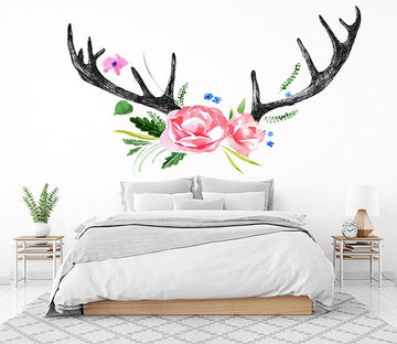 3D Antlers Flowers Wall Stickes