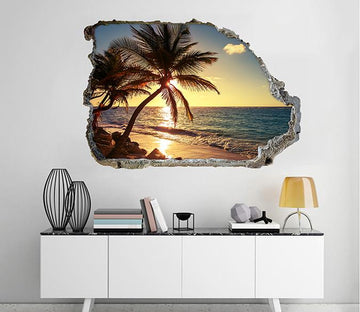 3D Beach Sunset Scenery 232 Broken Wall Murals