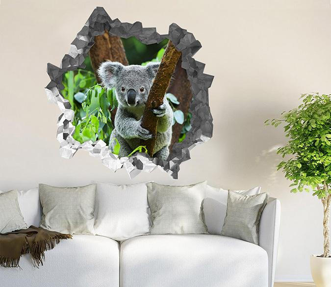 3D Tree Lovely Koala 196 Broken Wall Murals Wallpaper AJ Wallpaper