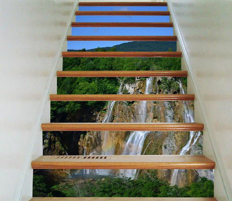 3D Mountain Cliff Streams 16 Stair Risers