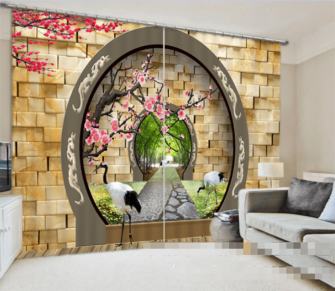 3D Arch Gate Scenery 947 Curtains Drapes