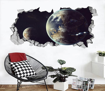 3D Space Earth 009 Broken Wall Murals Wallpaper AJ Wallpaper