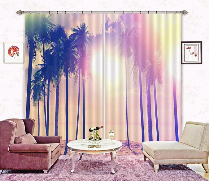 3D Beach Coconut Trees 111 Curtains Drapes
