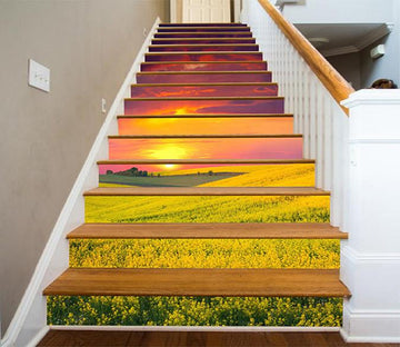 3D Flowers Mountain Sunset 1206 Stair Risers Wallpaper AJ Wallpaper