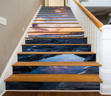 3D Seaside Sunset 29 Stair Risers Wallpaper AJ Wallpaper
