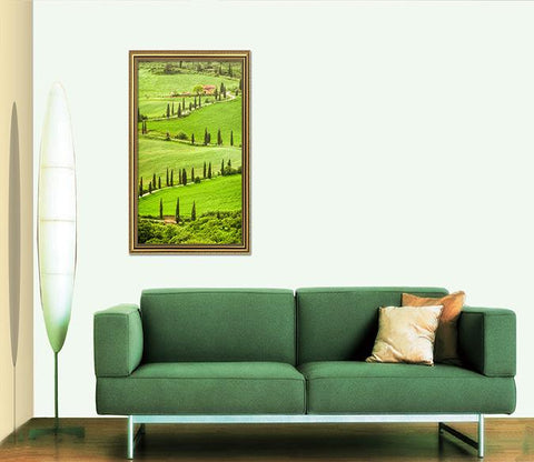 3D Field Meadow 050 Fake Framed Print Painting