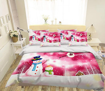 3D Christmas Snowman 234 Bed Pillowcases Quilt