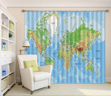 3D World Map 41 Curtains Drapes