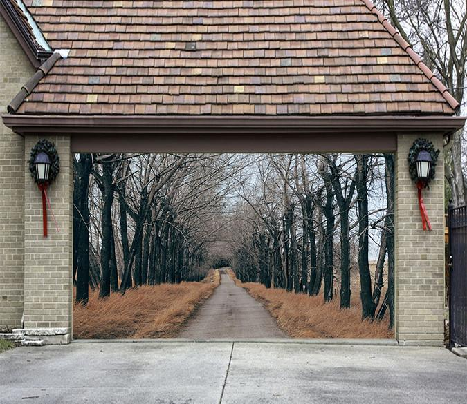 3D Roadside Weeds Trees 163 Garage Door Mural