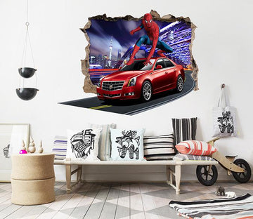 3D Car Spiderman 22 Broken Wall Murals
