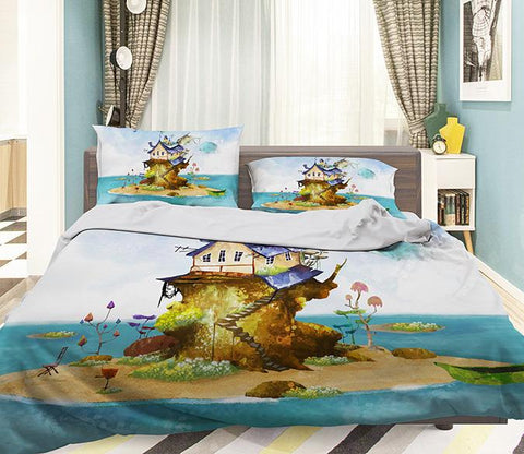3D Sea Island House 337 Bed Pillowcases Quilt