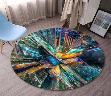 3D City Tall Buildings 94 Round Non Slip Rug Mat Mat AJ Creativity Home