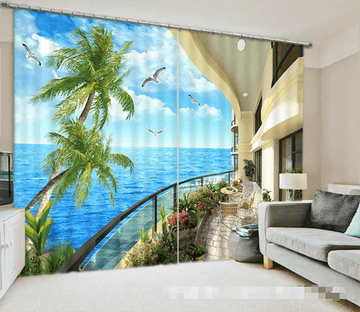 3D Balcony Sea Scenery 1038 Curtains Drapes Wallpaper AJ Wallpaper