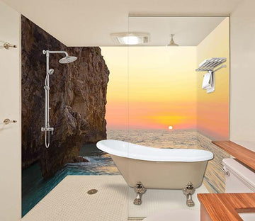3D Sea Coast Sunset 14 Bathroom Wallpaper Wallpaper AJ Wallpaper