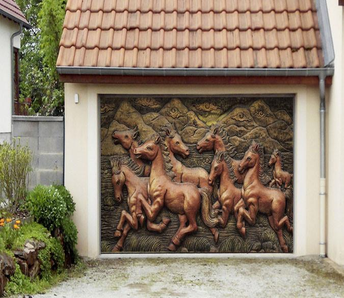 3D Baby Horses Carvings 424 Garage Door Mural