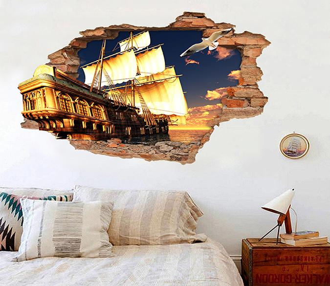 3D Dock Sailing Ship 204 Broken Wall Murals