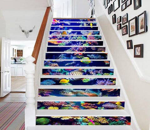 3D Colorful Ocean World 787 Stair Risers