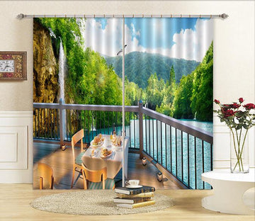 3D Balcony Lake Scenery Curtains Drapes Wallpaper AJ Wallpaper