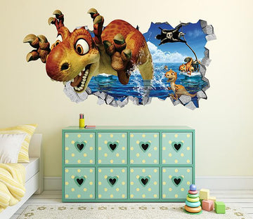3D Sea Lovely Dinosaurs 44 Broken Wall Murals Wallpaper AJ Wallpaper