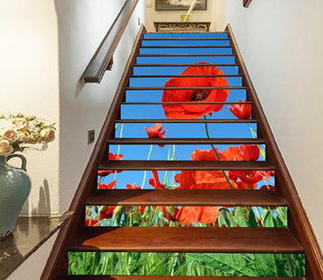 3D Lush Flowers 1473 Stair Risers Wallpaper AJ Wallpaper