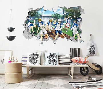 3D Anime Tennis Prince 15 Broken Wall Murals