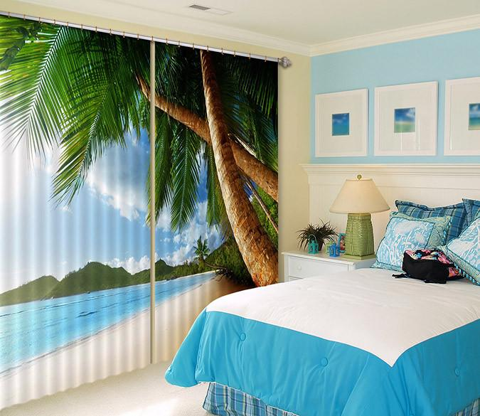3D Beautiful Beach 323 Curtains Drapes