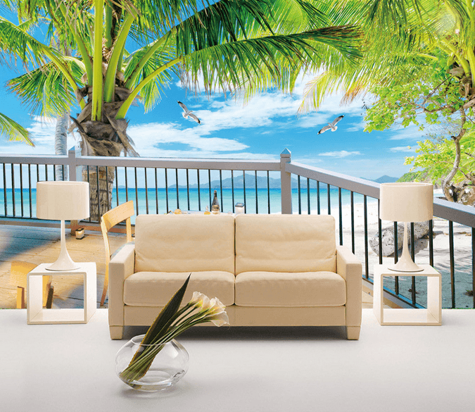 Beach Open-Air Balcony Wallpaper AJ Wallpaper