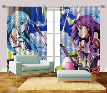 3D Animation Girls Battle 2395 Curtains Drapes Wallpaper AJ Wallpaper