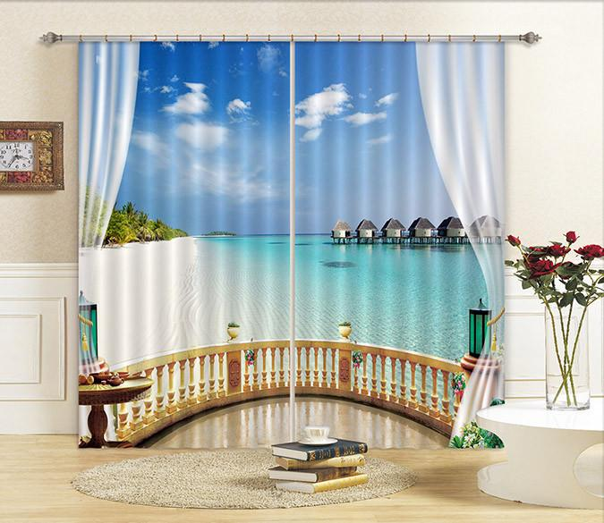3D Balcony Beach Scenery Curtains Drapes