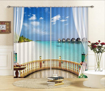 3D Balcony Beach Scenery Curtains Drapes Wallpaper AJ Wallpaper