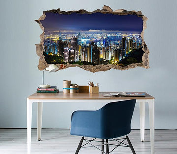 3D Shining City Night 117 Broken Wall Murals Wallpaper AJ Wallpaper