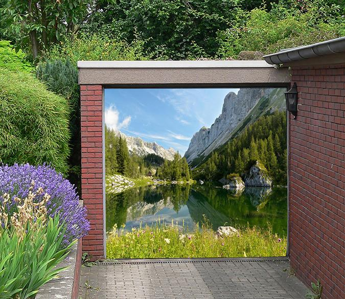 3D Mountain Calm Lake 205 Garage Door Mural