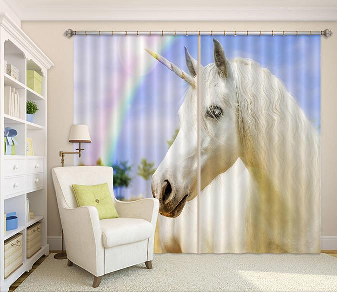 3D Rainbow Horse 52 Curtains Drapes Wallpaper AJ Wallpaper