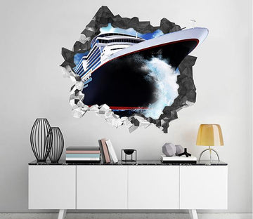 3D Big Ship 97 Broken Wall Murals Wallpaper AJ Wallpaper